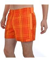 Reebok Mens Regular Fit Checked Swim Shorts - Orange