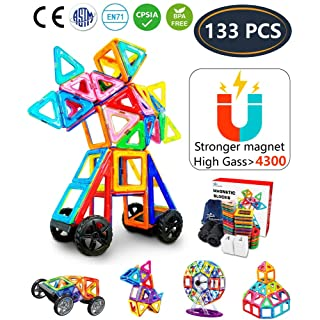 Jasonwell 133Pcs Magnetic Tiles Building Blocks Set for Boys Girls Preschool Educational Construction Kit Magnet Stacking Toys for Kids Toddlers Children Age 3 4 5 6 7 8 Year Old