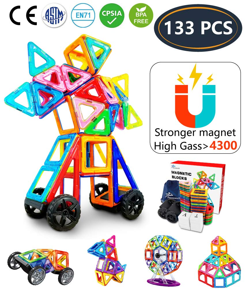 Jasonwell 98 PCS Creative Magnetic Building Blocks for Boys Girls Magnetic Tile