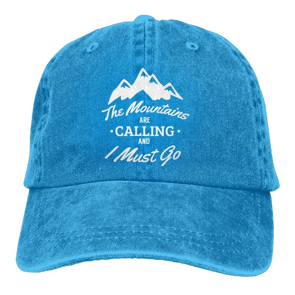 The Mountains are Calling and I Must Go Plain Adjustable Cowboy Cap Denim Hat for Women and Men