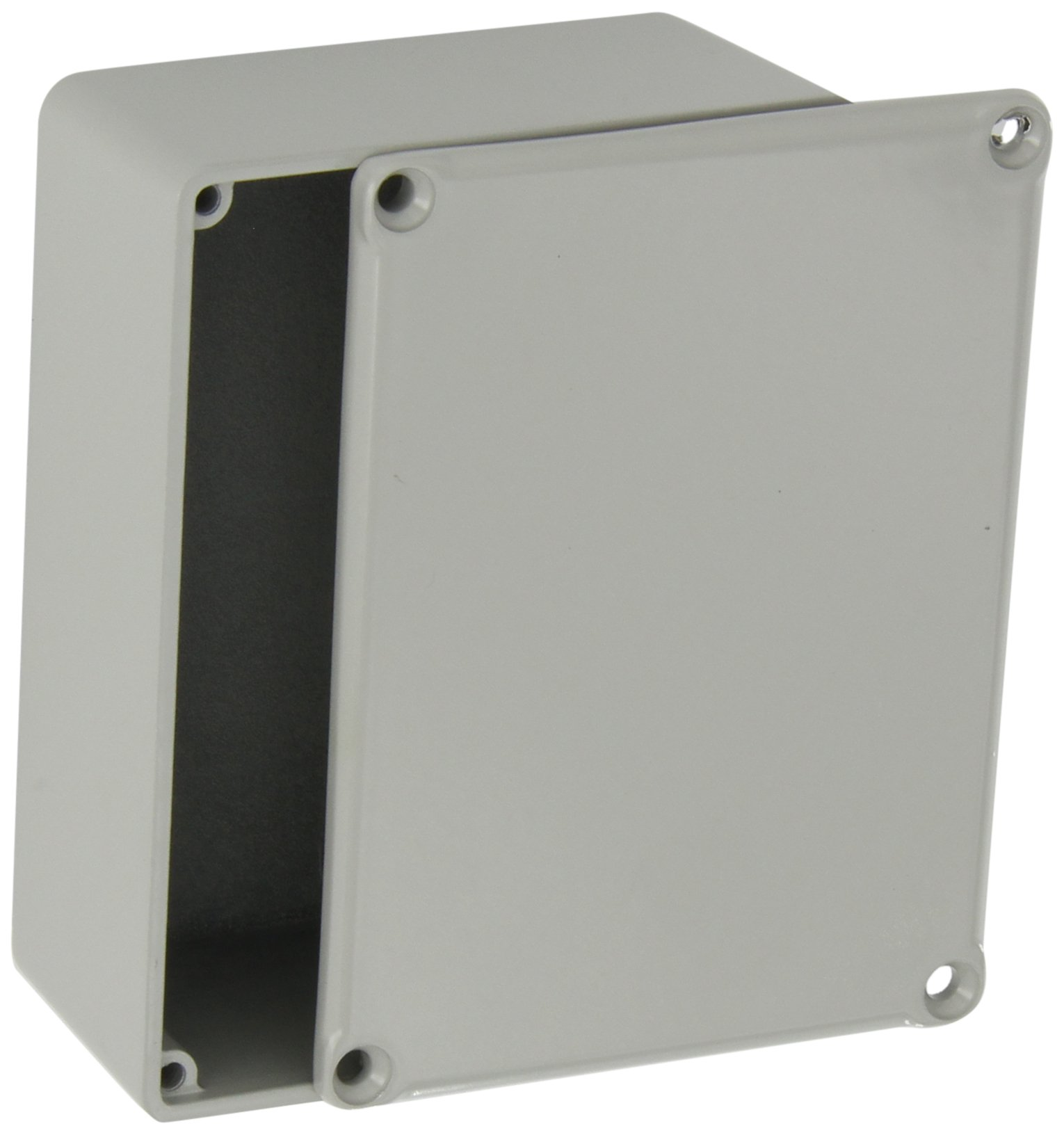 BUD Industries CU-471-G Aluminum Econobox, 4-21/64'' Length x 3-1/4'' Width x 1-3/4'' Height, Gray Painted Finish