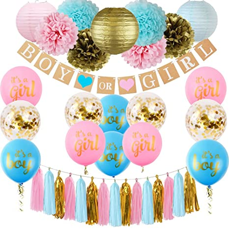 bb152a2b9 Gender Reveal Decoration Set Baby Shower Pink Blue Gold Confetti Balloons  Pink Blue Gold Pom Poms