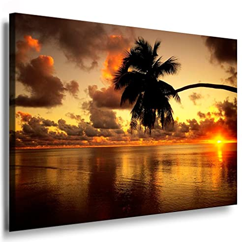 Bild Auf Leinwand Strand Palme Sonnenuntergang Bild 100X70Cm