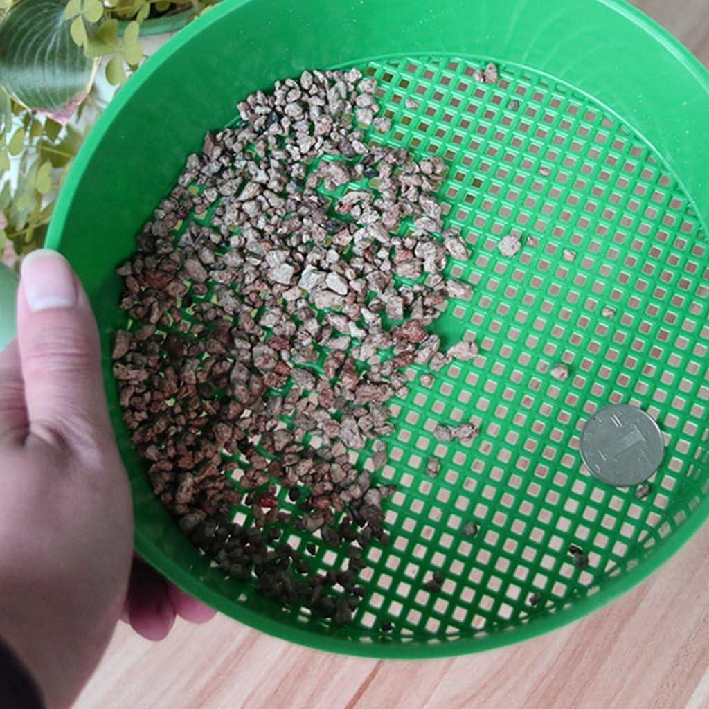 LLLucky Plastic Garden Sieve Riddle Green For Composy Soil Stone Mesh Gardening Tool Green