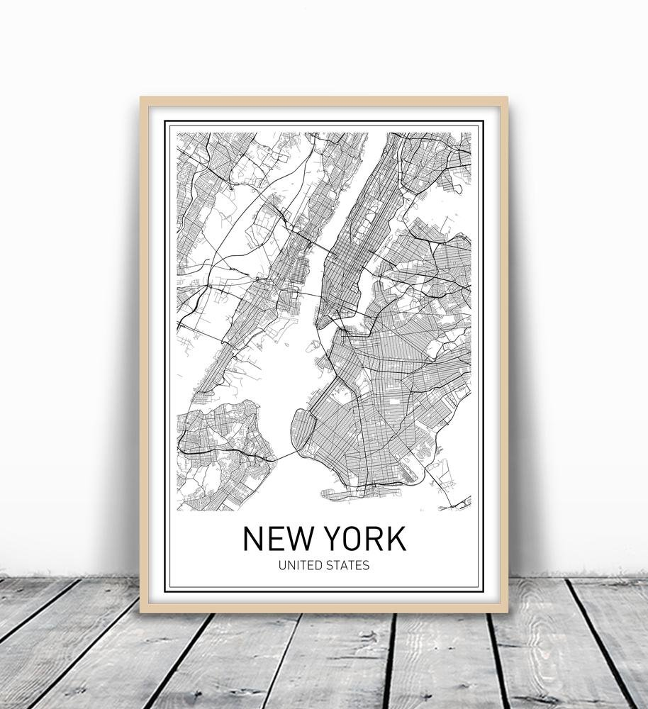 Map Of New York Poster.New York City Modern Art Design City Map On A Poster Perfect For