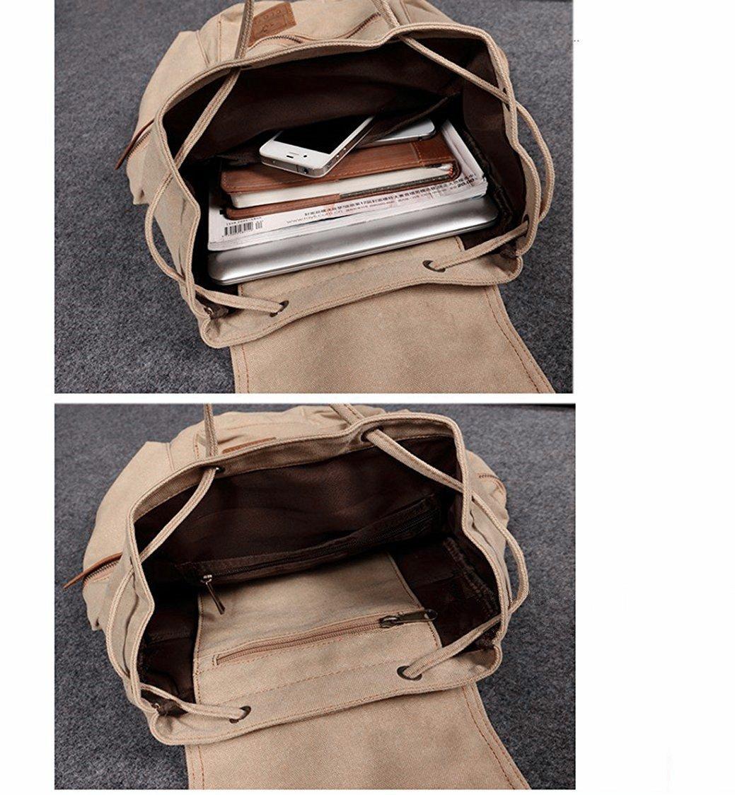 b3d4381ca9 Berchirly Vintage Men Casual Canvas Leather Backpack Rucksack Travel Bookbag  Satchel for School Outdoor Hiking  larger image