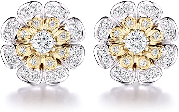14K Yellow Gold Plated 925 Sterling Silver Round CZ Prong Set Flower Stud Earrings