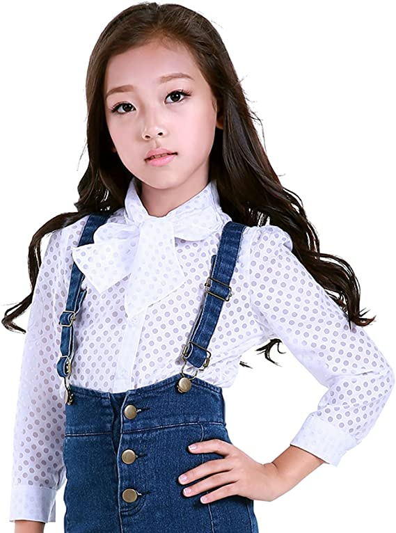 NABER Pretty Girls Polka Dots with Bow Tie Long Sleeve Button Down Shirt 3-11 Y