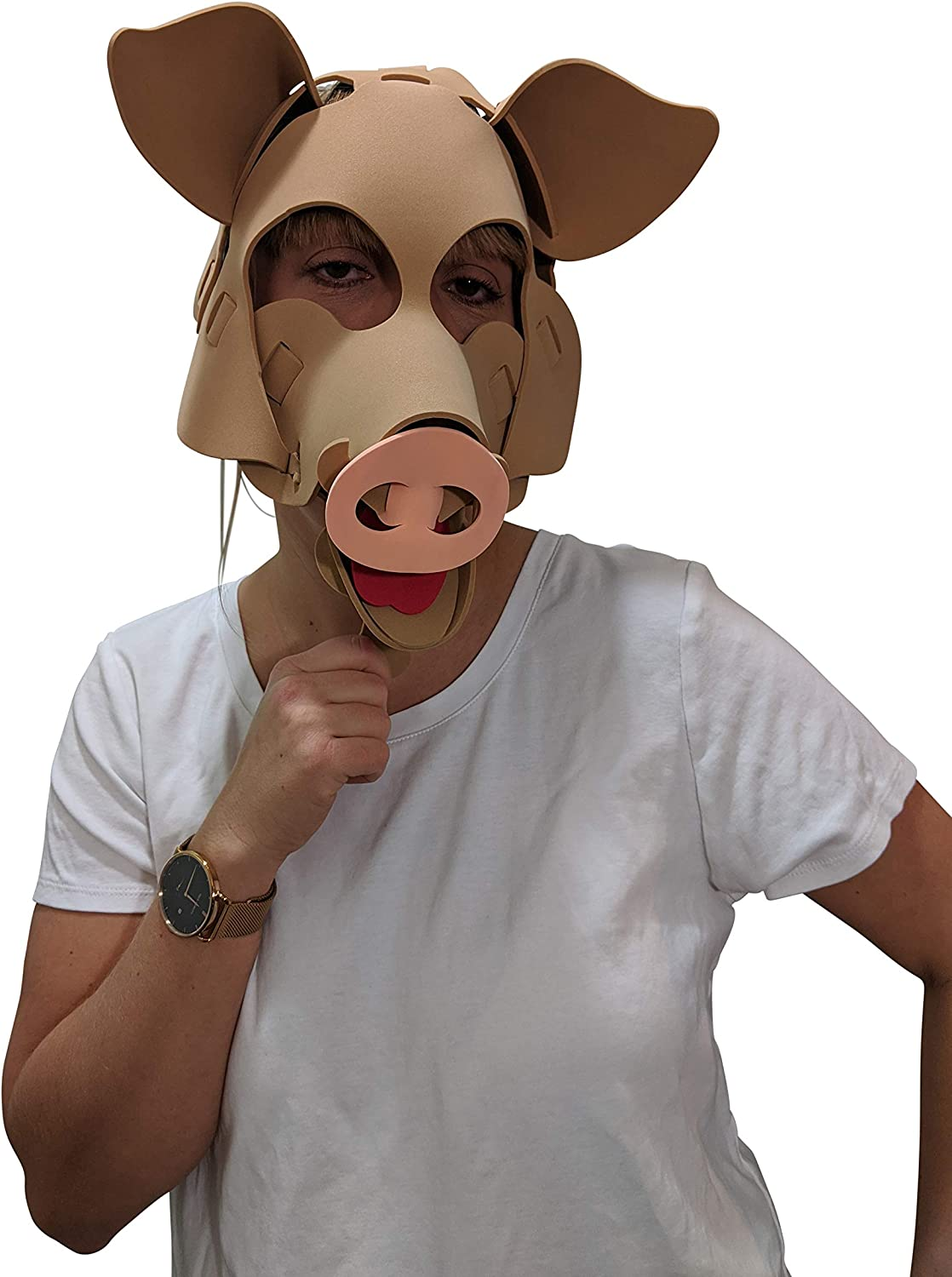 Comfortable Pig Mask Light Brown and Adjustable to Any Size