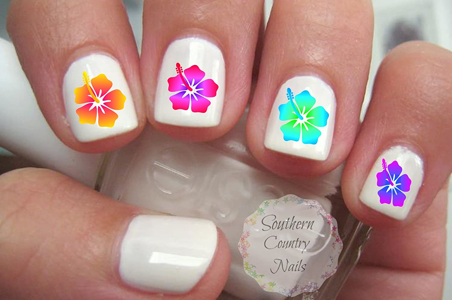 Amazon.com : 40 Hibiscus Flower Nail Art Decals : Beauty