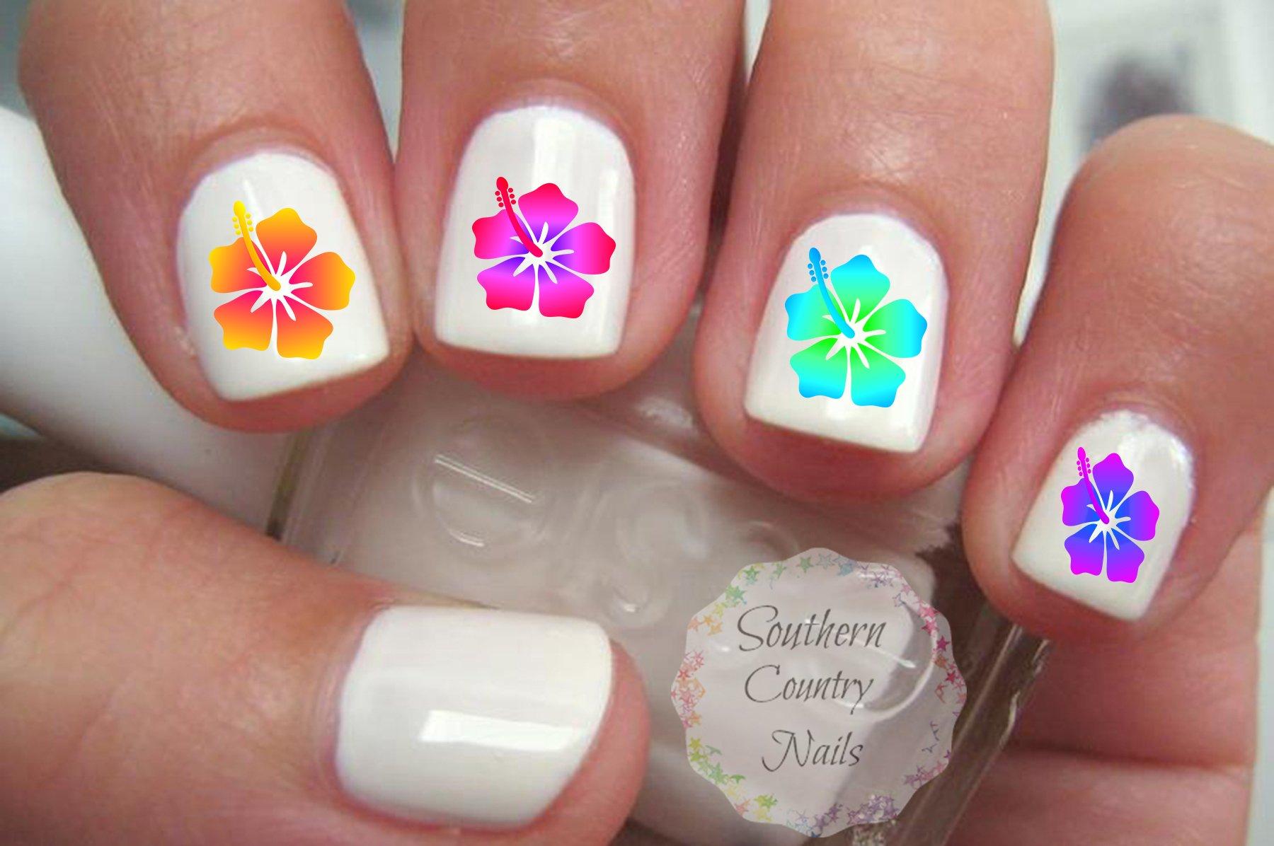 Amazon 40 hibiscus flower nail art decals beauty izmirmasajfo