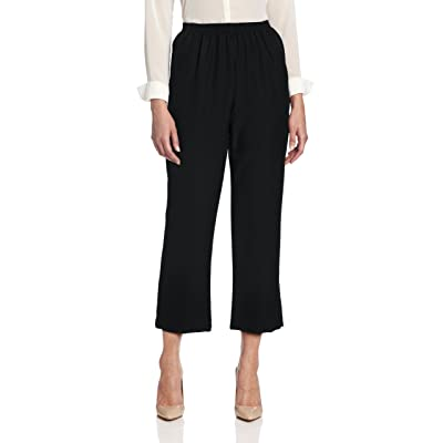 Alfred Dunner Women's Pull-On Style All Around Elastic Waist Polyester Cropped Missy Pants at Women's Clothing store: Athletic Pants