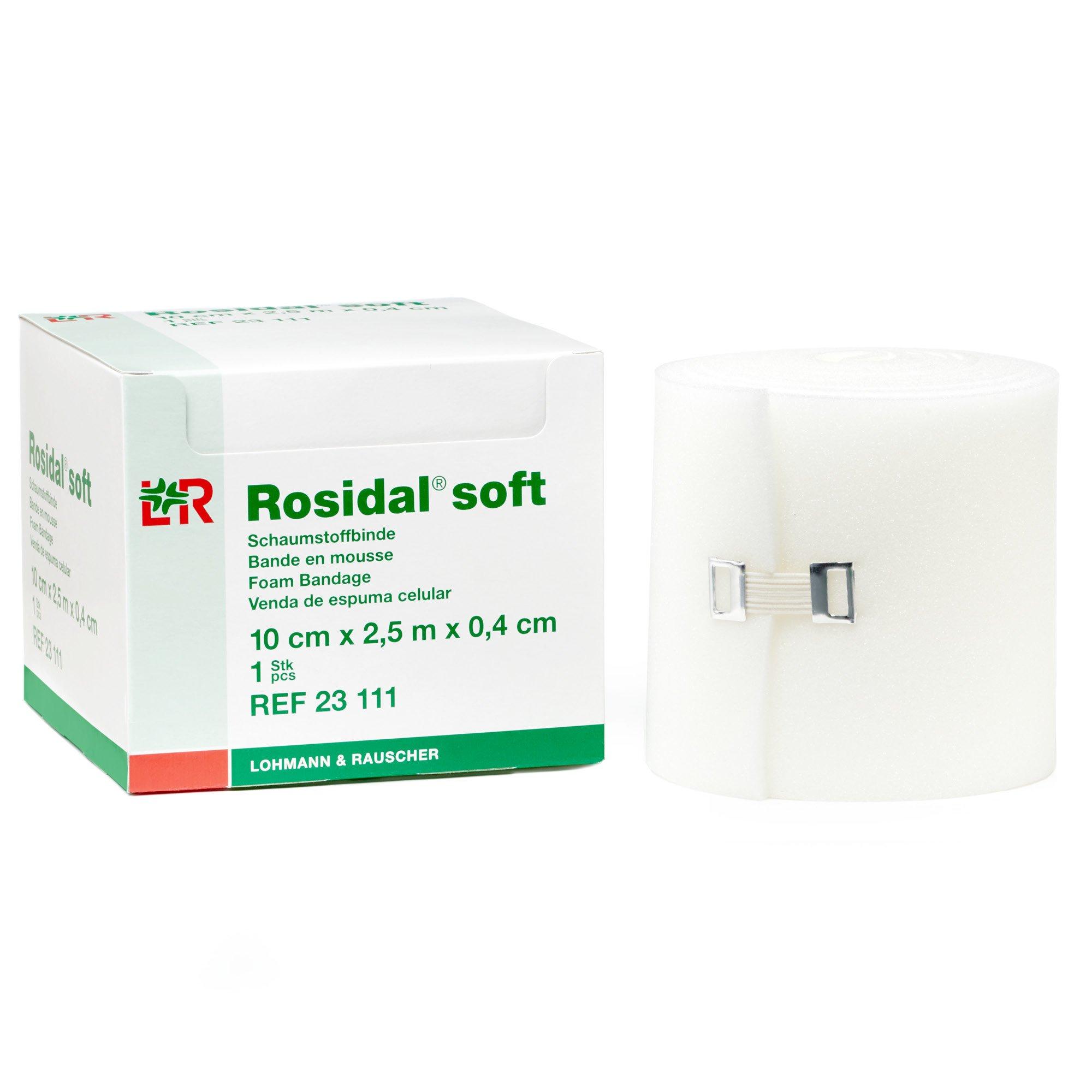 Rosidal Soft Foam Padding, Foam Dressing & Lymphedema Padding for Compression Distribution, 10cm x .4cm x 2.5m, Case of 24 Rolls