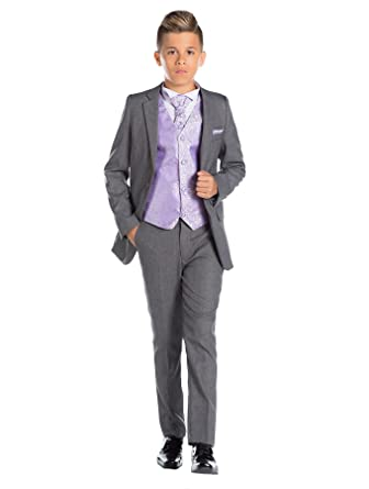 2e8b64ff15d197 Paisley of London, garçons Costume Gris, Fin Costume sur Mesure, Tourbillon  Gilet & Cravate, 12-18 Mois - 13 Ans
