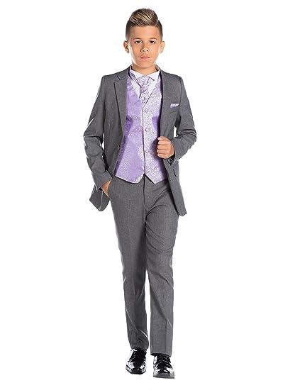Paisley of London, En Gris Niño Traje, Corte Ajustado traje, Remolino Chaleco & Corbata, 12-18 Meses - 13 Años