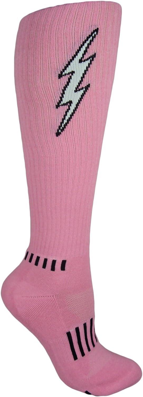 MOXY SOCKS Pink, Black, and White Knee-High Insane Bolt Fitness Women's Deadlift Socks