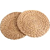 kilofly Natural Water Hyacinth Weave Placemat Round Braided Rattan Tablemats 11.8 inch x 2pc