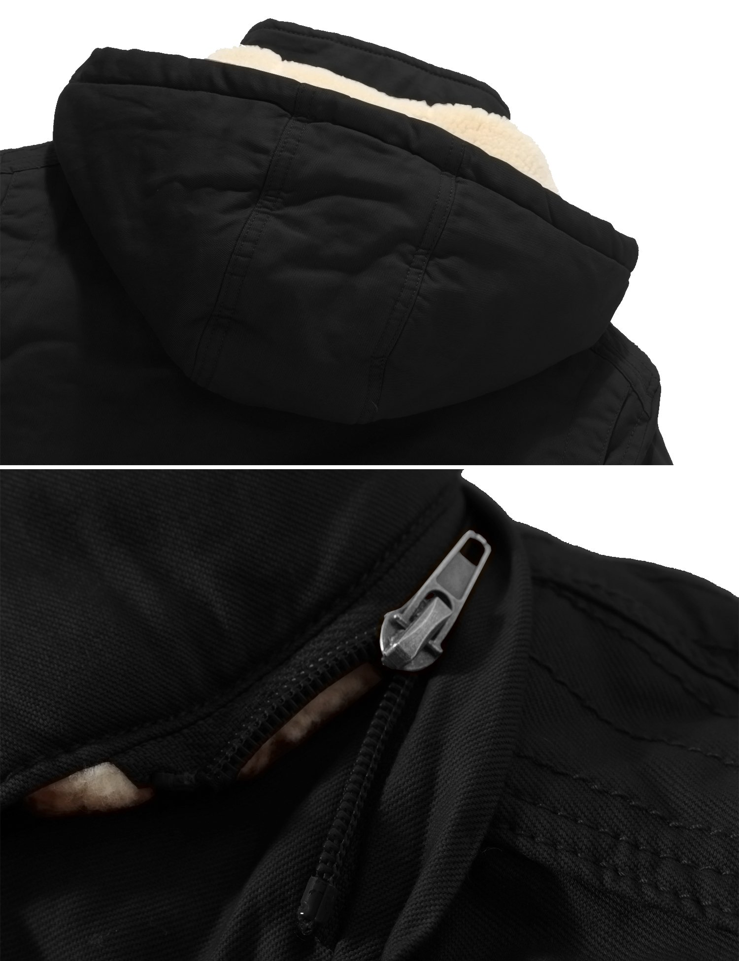 Wantdo Women's Winter Thicken Jacket Cotton Coat with Removable Hood (Black, US M) by Wantdo (Image #4)
