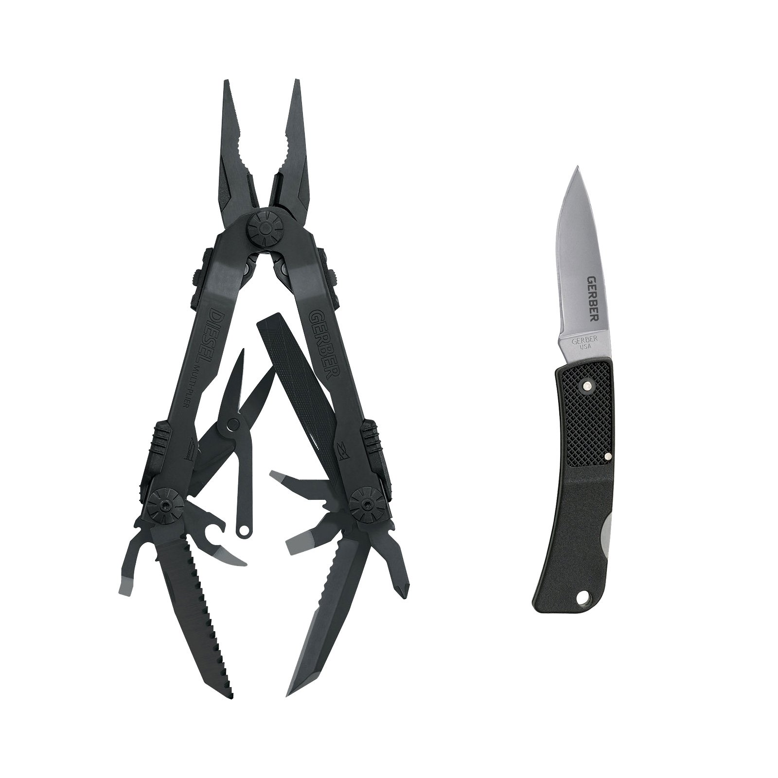 Gerber Diesel Multi-Tool Black w/ Gerber Ultralight LST Lock Blade Fine Edge Knife