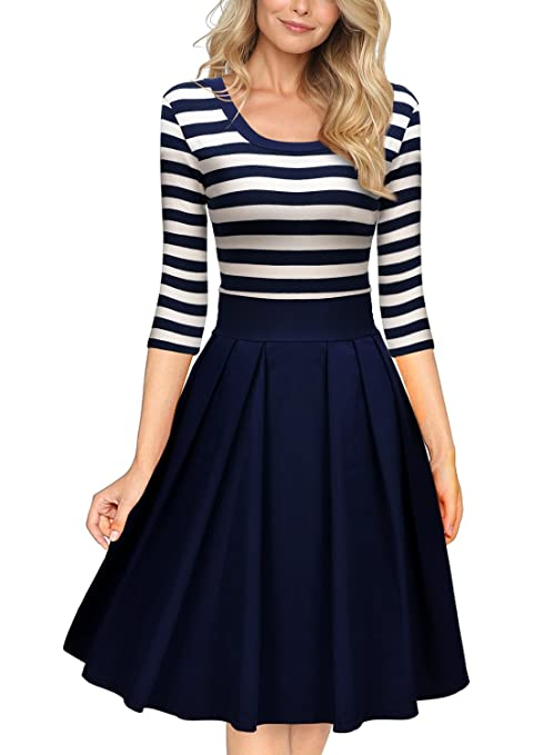 Miusol Women's Navy Style Stripe Scoop Neck 2/3 Sleeve Casual Swing Dress, Navy Blue, Large