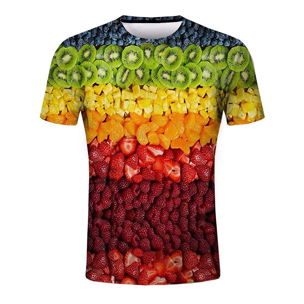 Xlala Mens Fashion Tops Fruit 3D Printing Gradient Tees Round Neck Simple Classic Shirt Slim Fit Fitness Short Sleeve Hippie Hip Hop T Shirt (Multicolor, S)