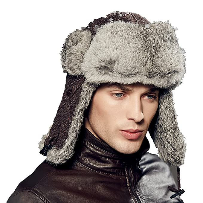 cf42075f594e9 Kenmont Winter Men Ski 100% Real Rabbit Fur Trapper Aviator Russia Cap Bomber  Hat  Amazon.ca  Clothing   Accessories
