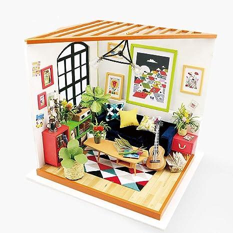 Amazon Com Eggschale Diy Dollhouse Furniture Kit Miniature Wooden