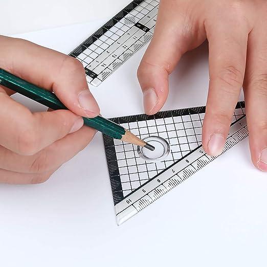 Supvox mathematische geometrie werkzeuge dreieckiges lineal winkelmesser linear lineal set squares f/ür sch/üler lehrer zeichnen und zeichnen von silber
