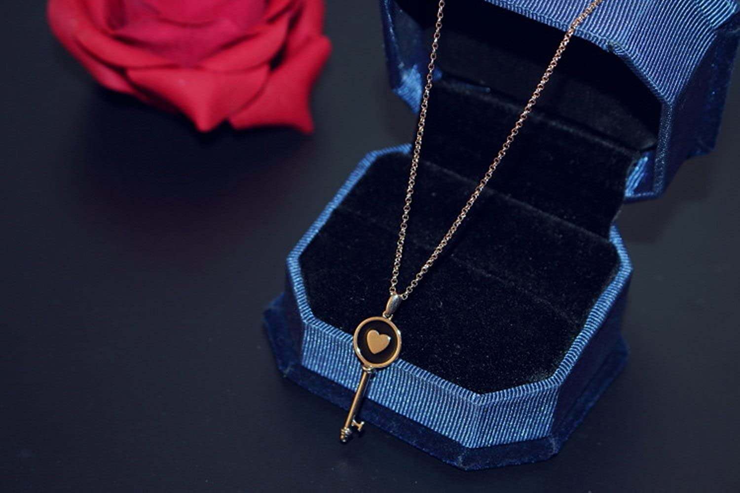Lucky Heart Key Pendant Cubic Zirconia Halo Womens Stainless Steel 14K Rose Gold Necklace
