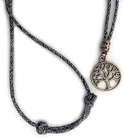 Collar de Cuerda no sint/ética Estilo Hippie Ideal para Verano Fk You Vintage Colgante Hombre /árbol de la Vida de Medida Regulable Hecho a Mano