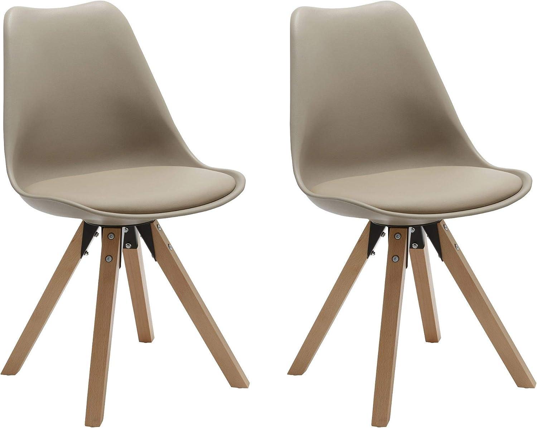 Duhome Chaise Salle à Manger Lot de 2 avec Coussin Design Retro Chaise scandinave avec Pieds en Bois WY 518M, Couleur:Beige 1, matière:Similicuir