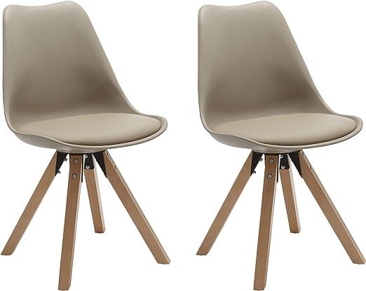 Duhome 2er Set Stuhl Esszimmerstühle Küchenstühle Farbauswahl mit Holzbeinen Sitzkissen Esszimmerstuhl Retro 518M, Farbe:Beige, Material:Kunstleder