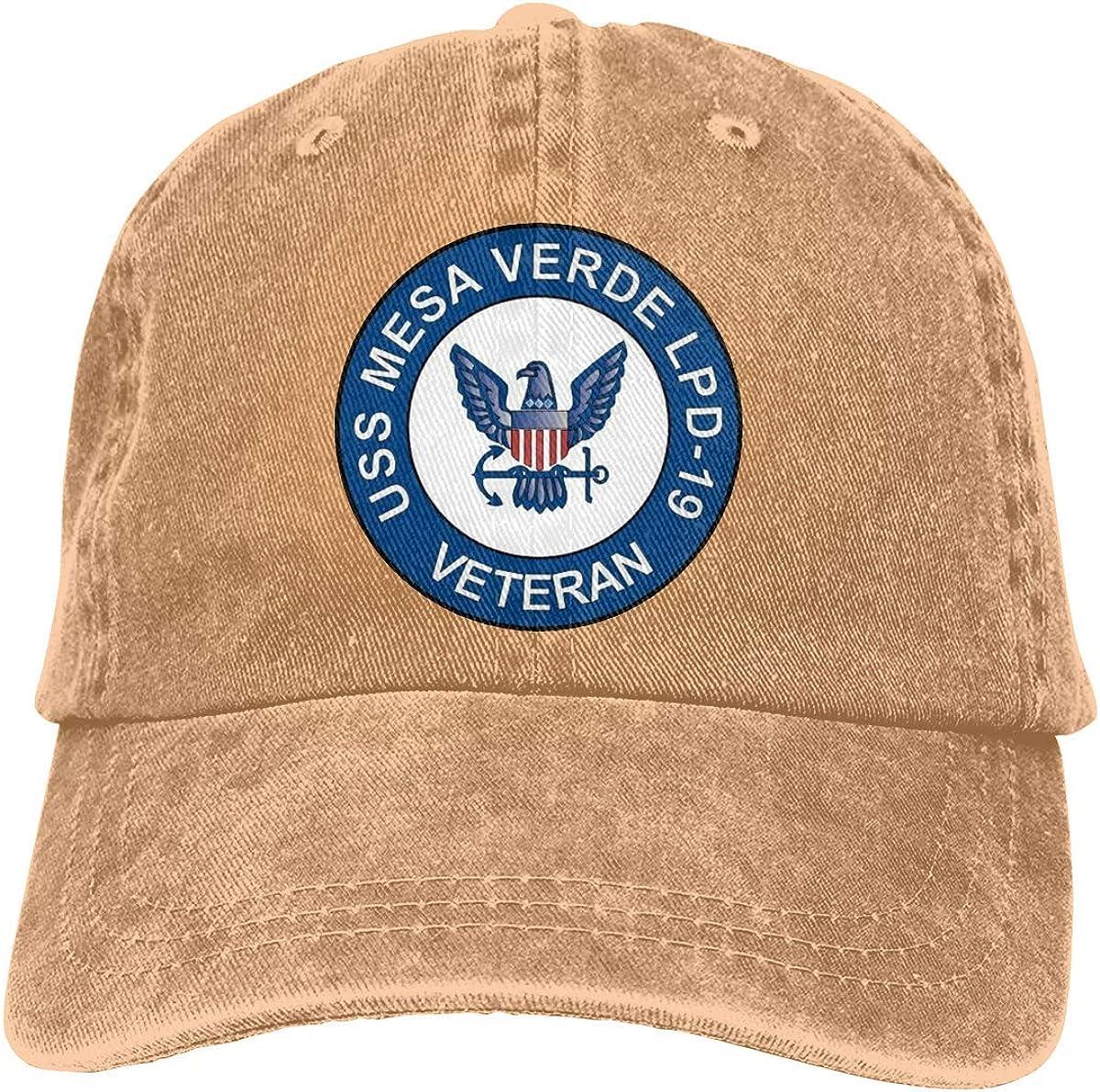 SUOGA USS Mesa Verde LPD 19 Barco Veterano Sombreros de béisbol unisex para adultos Sombreros de vaquero Sombreros de mezclilla Sombrero de papá