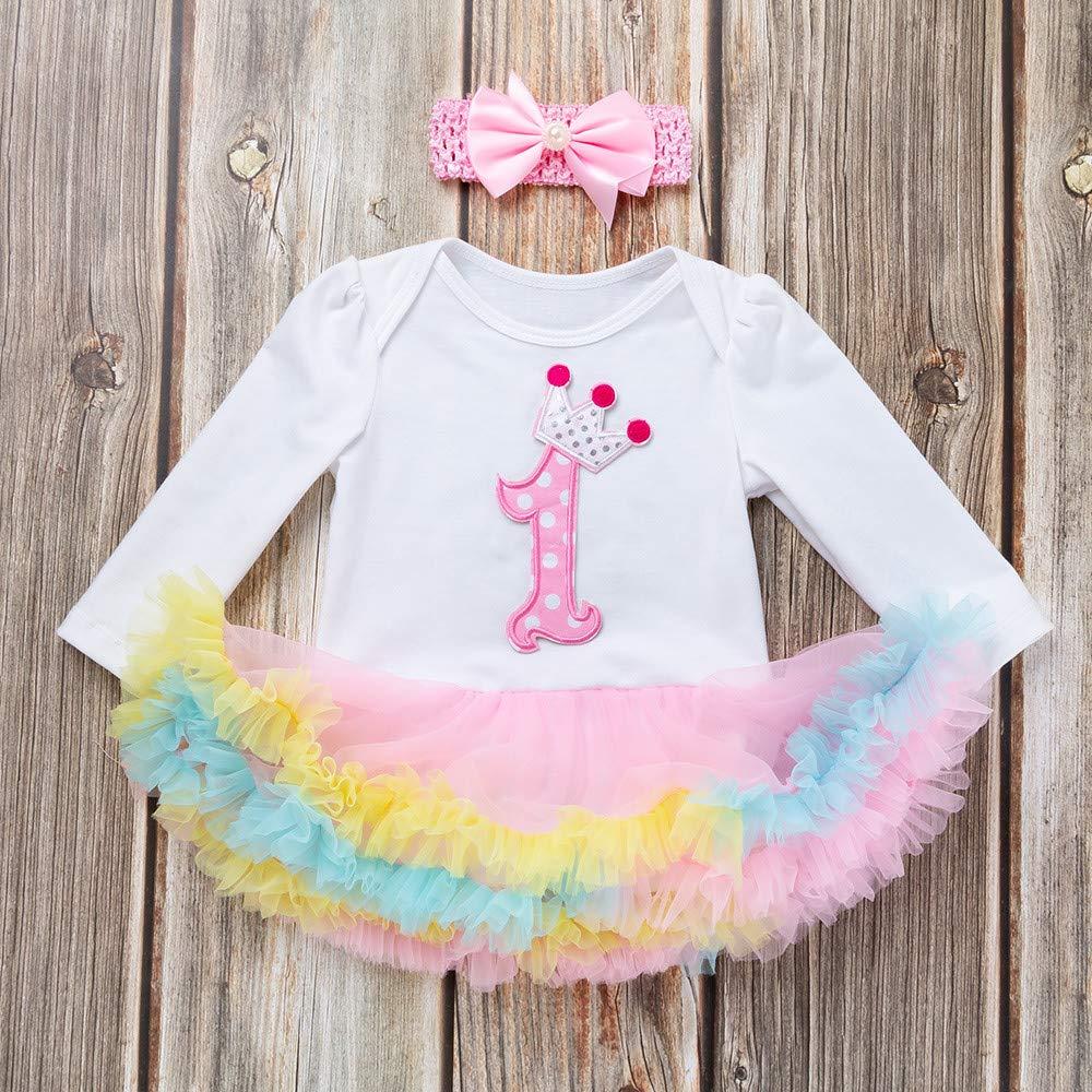 KONFA Toddler Newborn Baby Girls Birthday Party DressLittle Princess Long Sleeve Romper Skirt Clothes Set