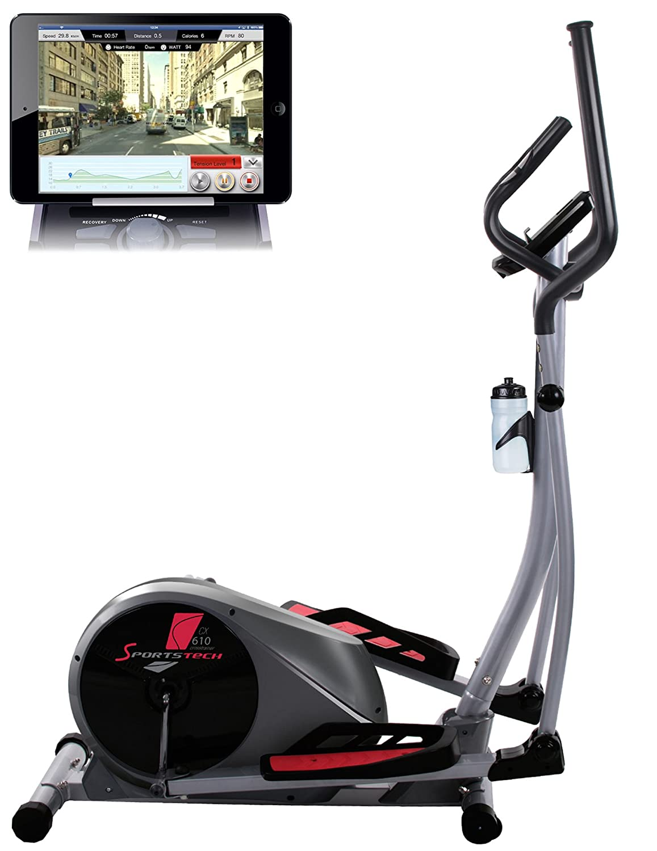Sportstech CX610 Cardio Training elíptica con el control Smartphone aplicación Google View Street, masa de inercia de 18 KG, 32-CDH niveles de ...