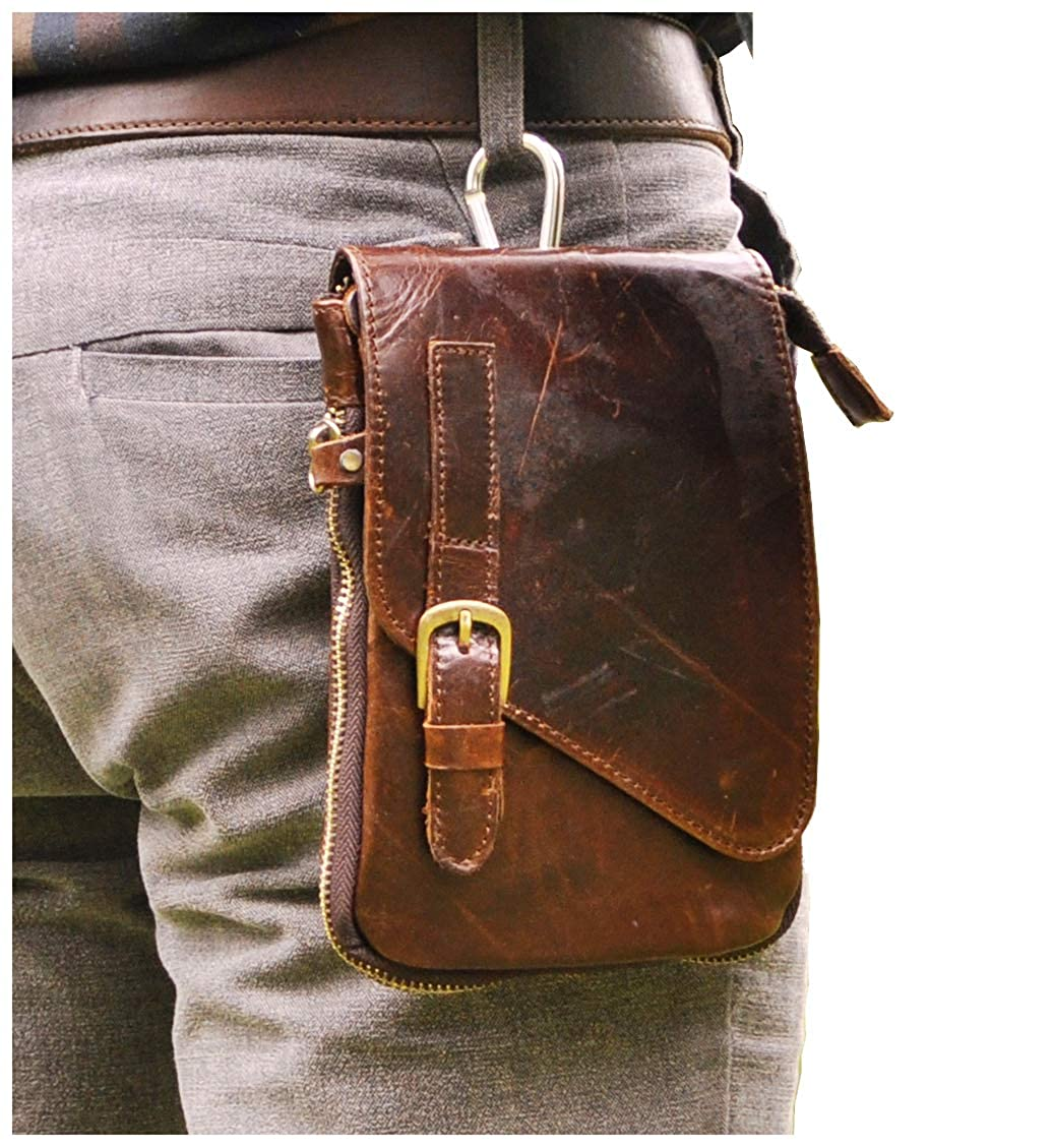 Le aokuu Mens Genuine Leather Small Messenger Shoulder Satchel Phone Pouch Belt Fanny Waist Bag Pack 6402