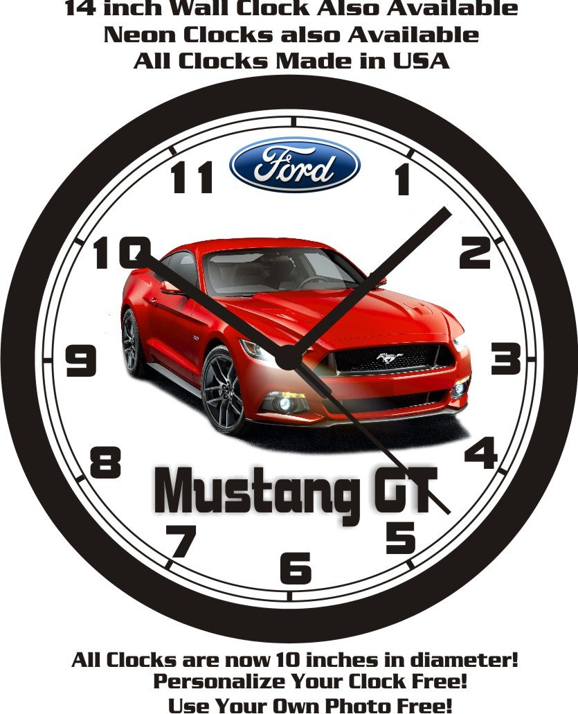 Amazon com 2015 2017 ford mustang gt wall clock free usa ship home kitchen