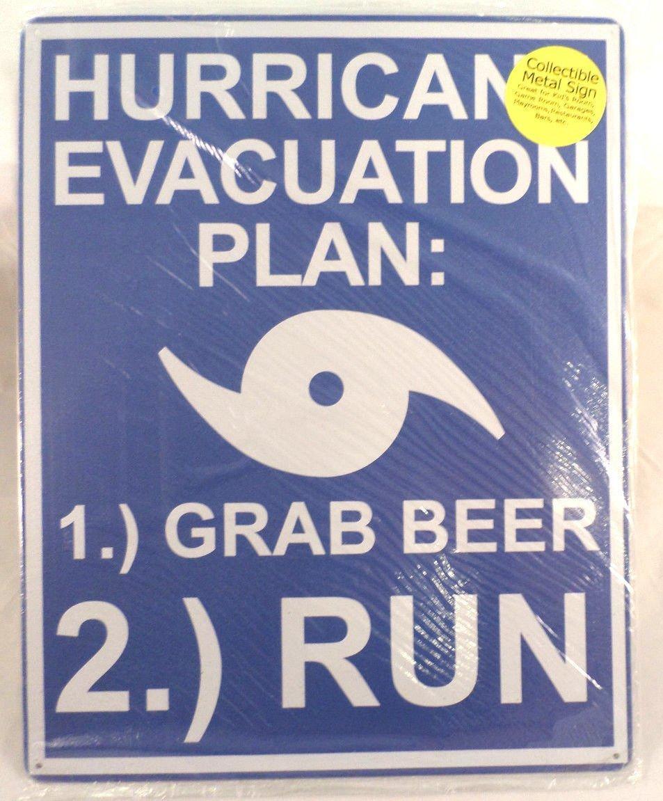Hurricane Evacuation Plan  Grab Beer  Run Tin Sign For Bar Man - Man cave garage bar