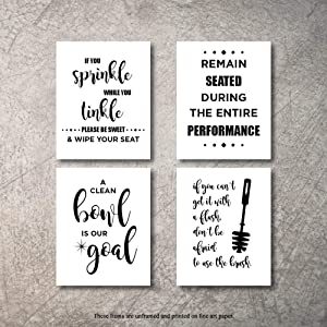 Bathroom Decor Wall Art 4 Prints Sprinkle While You Tinkle Signs Set NOT FRAMED - Funny artwork decoration pictures for bath home farmhouse country fun Rustic bathrooms quotes decore Cute decor (8x10)