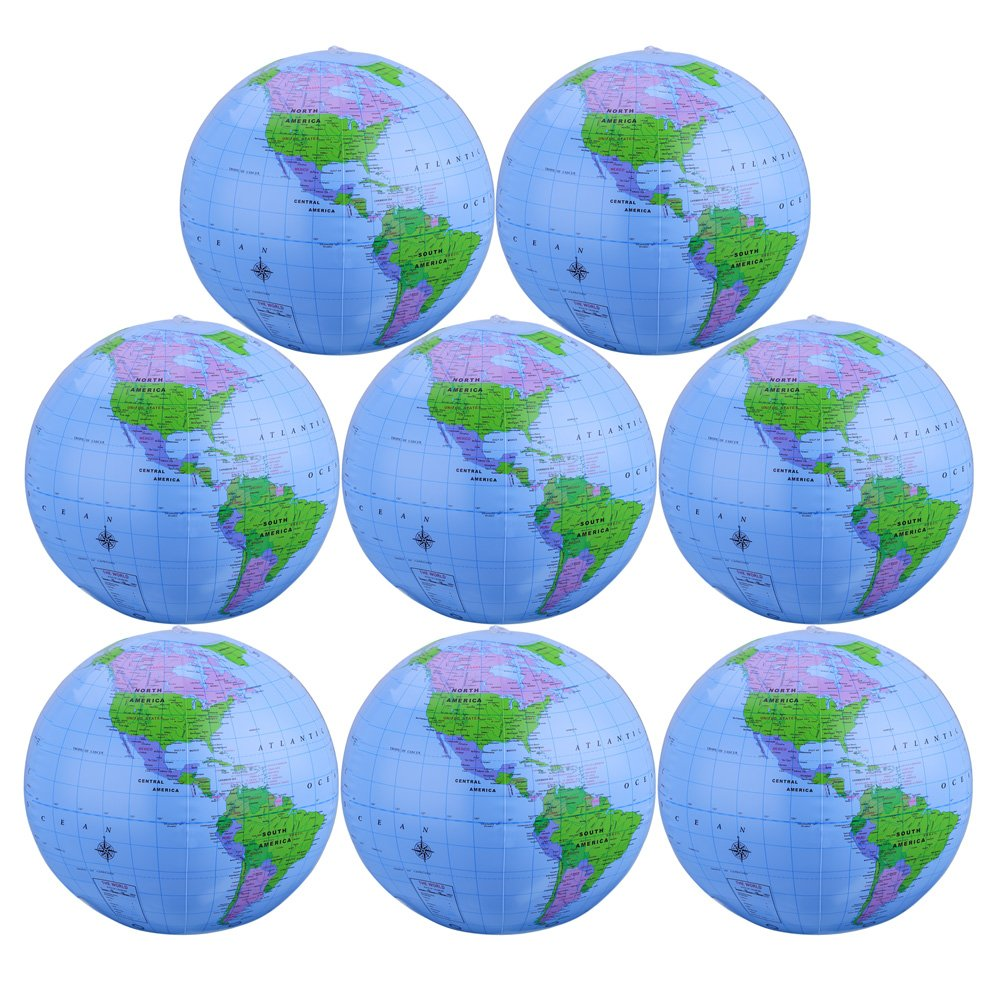 Hautoco 16 inch Beach Balls Inflatable Globe Beach Pool Toys for Playing, Teaching and Pool Party Decorations(8 pack)