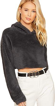 SweatyRocks Womens Solid Black Long Sleeve Pullover Crop Top Hoodie