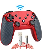 momen Switch Pro Controller, Wireless Switch Controller, mit LED-Ladekabel (C) (rot)