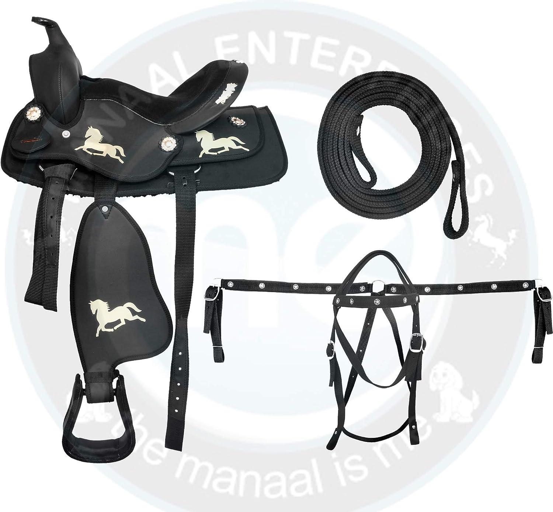 ME Enterprises 合成スエード オーストラリア産 馬 サドルタック ホーンと馬のロゴプリント入り お揃いのヘッドストール 胸襟 手綱 サイズ14~18インチ  17.5\