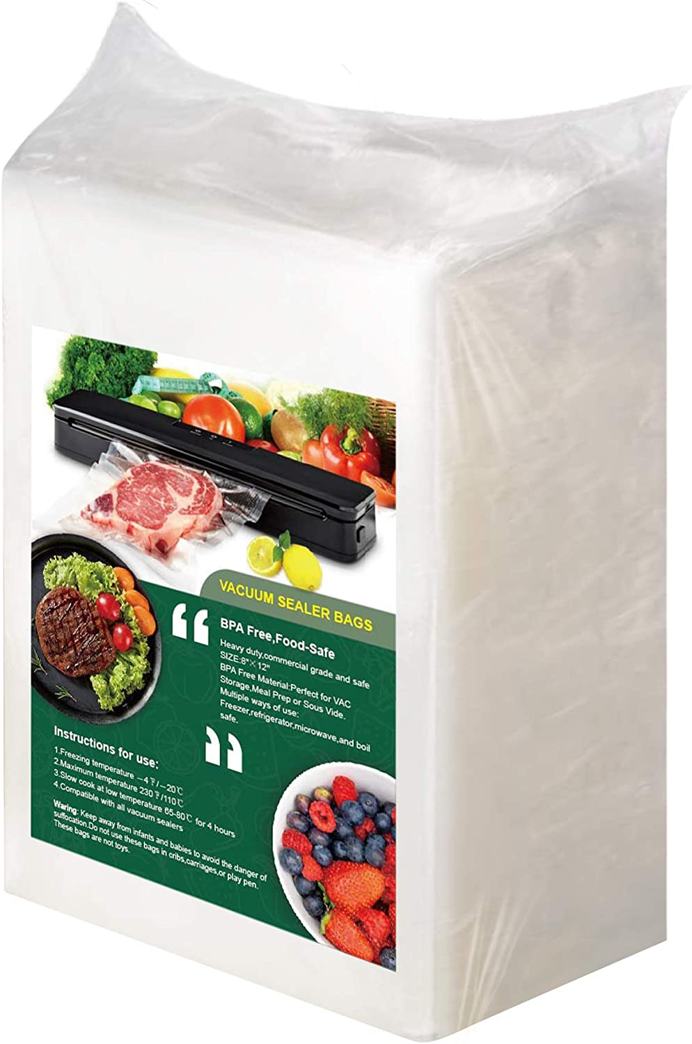 Quart Vacuum Seal Bags 200, 8 x12 inch Vacuum Sealer Bags Heavy Duty Precut Food Saver Bags with 80 Removable Food Labels Seal a Meal Bags Great for Sous Vide Meal Prep Vac Storage Freezer