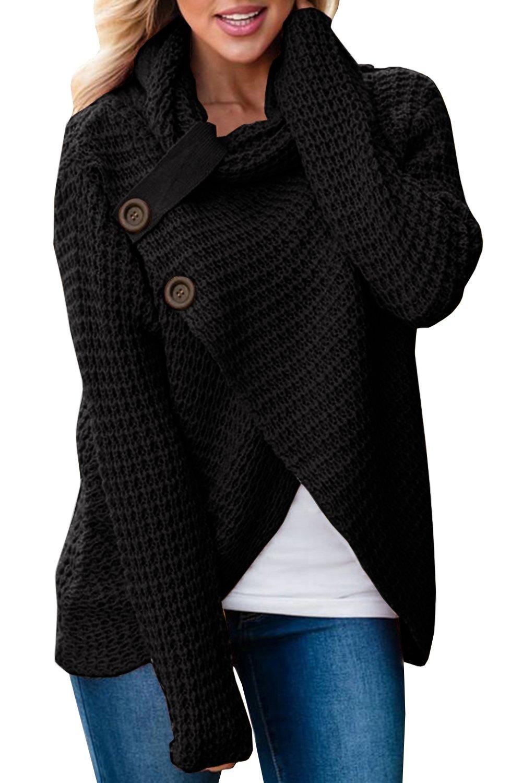Huiyuzhi Women Long Sleeve Turtleneck Button Down Knit Hooded Cardigan Pullover Sweater Jumper (M, Black)