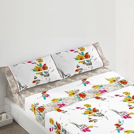 Juego de s/ábanas 681 Granate de cama de 90x190//200 cm Burrito Blanco