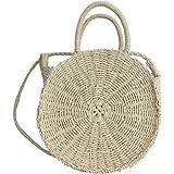 PROKTH Outdoor paglia intrecciato tessuto spalla Borsa da spiaggia per donna, rotondo estate viaggio borsa a tracolla borse a tracolla, White, 22 cm/8.66''