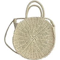 Aneil Media Luna Bolsos para Mujer de bambú japonés Hecho a Mano de Estilo de bambú Bolso Saco de Bolsa de Playa de Verano