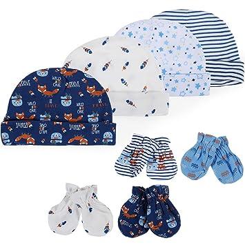 Lictin Newborn Baby Cotton Caps Mittens - 100% Cotton 4pcs Baby Cotton Caps  Hats and cc4f9f65f6e