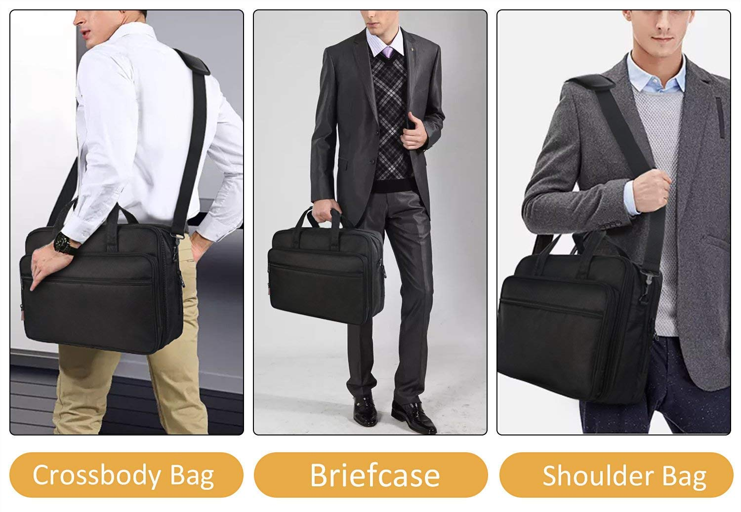 17 inch Laptop Bag, Large Business Briefcase for Men Women, Travel Laptop Case Shoulder Bag, Waterproof Carrying Case Fits 15.6 17 inch Laptop, Expandable Computer Bag for Notebook, Ultrabook by Mancro (Image #9)